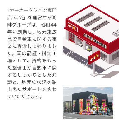 「カーオークション専門店 車楽」を運営する湖畔グループは、昭和44年に創業し、地元東広島で自動車に関する事業に専念して参りました。国の認証・指定工場として、資格をもった整備士が自動車に関するしっかりとした知識と、地元の状況を踏まえたサポートをさせていただきます。